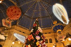 New Year Balloons Under Cupola of GUM Mall. MOSCOW, RUSSIA - New Year Balloons Under Cupola of GUM Mall Stock Images