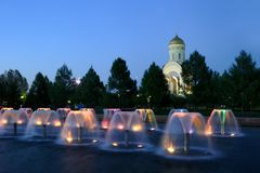 Colorful Fountains and Church of St. George in Twilight - Victor Royalty Free Stock Photos
