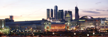 Moscow, Russia. Night. View from the embankment of the Moskva River in the Kievsky train station, international business centre and pedestrian bridge Bogdan Royalty Free Stock Images