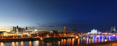 Moscow, Russia. Night. Panoramic view. From the embankment of the Moskva River in the Kievsky train station, international business centre and bridges Royalty Free Stock Photo