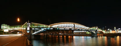 Moscow, Russia. Night. Panoramic view. From the embankment of the Moskva River. Pedestrian bridge Bogdan Khmelnitsky Royalty Free Stock Images