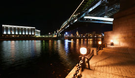 Moscow, Russia. Night. Panoramic view. From the embankment of the Moskva River. Pedestrian bridge Bogdan Khmelnitsky Stock Photo