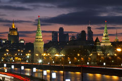 Moscow, Russia, night view on Kremlin. City comlex and building of the Ministry of Internal Affairs Stock Photos
