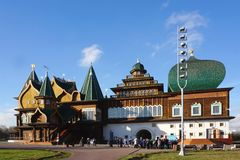 The best masterpieces of Russian wooden structure of Palace of T. Moscow, Russia - 9 November,2017 : The best masterpieces of Russian wooden structure of Palace Royalty Free Stock Photos