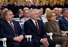 Chairman of the Federal Assembly of the Russian Federation Valentina Matvienko and Ministers Vladimir Kolokoltsev and Vladimir Puc. MOSCOW, RUSSIA - NOVEMBER 2 stock image