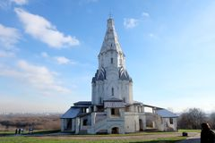 The Church of the Ascension in Kolomenskoye the unesco heritage. Moscow, Russia - 9 November,2017 : The Church of the Ascension in Kolomenskoye the unesco Royalty Free Stock Images