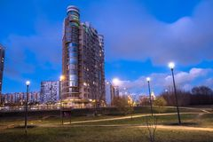 MOSCOW, RUSSIA,NOVEMBER,21.2018: Evening autumn view of the environmentally friendly comfortable residential district in Moscow. B royalty free stock image