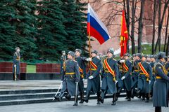 The Honor Guard of the 154 Preobrazhensky Regiment in the infantry uniform at the solemn event. MOSCOW, RUSSIA - NOVEMBER 08, 2017: The Honor Guard of the 154 Royalty Free Stock Images