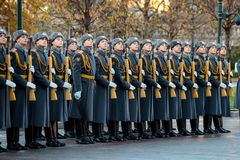 The Honor Guard of the 154 Preobrazhensky Regiment in the infantry uniform at the solemn event. MOSCOW, RUSSIA - NOVEMBER 08, 2017: The Honor Guard of the 154 Stock Image