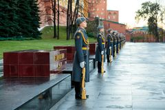 The Honor Guard of the 154 Preobrazhensky Regiment in the infantry uniform at the solemn event. MOSCOW, RUSSIA - NOVEMBER 08, 2017: The Honor Guard of the 154 Royalty Free Stock Photography