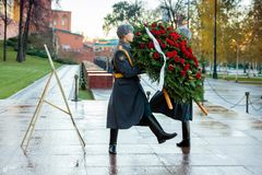 The Honor Guard of the 154 Preobrazhensky Regiment in the infantry uniform at the solemn event. MOSCOW, RUSSIA - NOVEMBER 08, 2017: The Honor Guard of the 154 Stock Photography