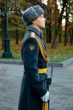 The Honor Guard of the 154 Preobrazhensky Regiment in the infantry uniform at the solemn event. MOSCOW, RUSSIA - NOVEMBER 08, 2017: The Honor Guard of the 154 Royalty Free Stock Image