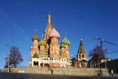 Iconic architecture of the beautiful Saint Basil`s Cathedral on stock photos