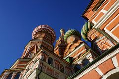 Iconic architecture of the beautiful Saint Basil`s Cathedral on stock images
