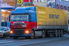Truck on the street of Moscow stock image