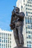 Moscow, Russia - November 2. 2017. The monument to M. Kalashnikov, designer of AK-47 on Oryzheyny lane. Royalty Free Stock Photos