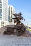 Moscow, Russia - November 2. 2017. Monument to Kalashnikov, designer of AK-47 on Oryzheyny lane. Stock Photos