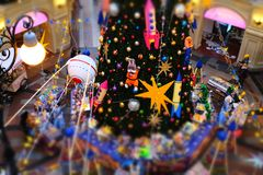 Moscow, Russia - November 25, 2019: New Year tree with cartoon toys in the State Department Store on Red Square