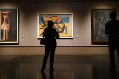 Moscow, Russia - November 21, 2018: People near the Pablo Picasso painting in Pushkin Museum of Fine Arts is largest stock image