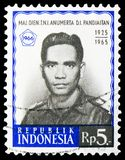 Postage stamp printed in Indonesia shows Attempted Communist Coup- Panjaitan, serie, circa 1966