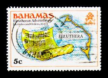 Map and scroll, Definitives, serie, circa 1980. MOSCOW, RUSSIA - NOVEMBER 25, 2017: A stamp printed in Bahamas shows Definitives, serie, circa 1980 Stock Photography