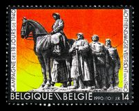 Armed soldiers, Military expedition, circa 1990. MOSCOW, RUSSIA - NOVEMBER 23, 2017: A stamp printed in Belgium shows Military expedition, circa 1990 Stock Images