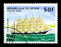 Barque, Sailing ships serie, circa 1996. MOSCOW, RUSSIA - NOVEMBER 26, 2017: A stamp printed in Benin shows Barque, Sailing ships serie, circa 1996 royalty free stock photos