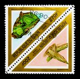 Malachite and Aragonite, Minerals and rocks  serie, circa 1998. MOSCOW, RUSSIA - NOVEMBER 26, 2017: A stamp printed in Benin shows Malachite and Aragonite Stock Images