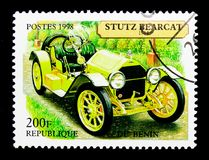 Stutz Bearcat, 1914, Vintage Cars serie, circa 1998. MOSCOW, RUSSIA - NOVEMBER 26, 2017: A stamp printed in Benin shows Stutz Bearcat, 1914, Vintage Cars serie Stock Image