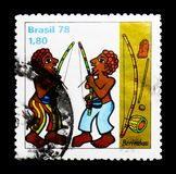 MOSCOW, RUSSIA - NOVEMBER 23, 2017: A stamp printed in Brazil sh. Ows Berimbau, serie, circa 1978 royalty free stock photo