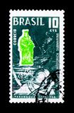 MOSCOW, RUSSIA - NOVEMBER 23, 2017: A stamp printed in Brazil sh. Ows 300 years Underwater Search, serie, circa 1968 stock photos