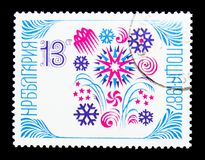 New Year 1987, serie, circa 1986. MOSCOW, RUSSIA - NOVEMBER 25, 2017: A stamp printed in Bulgaria shows New Year 1987, serie, circa 1986 royalty free stock photos