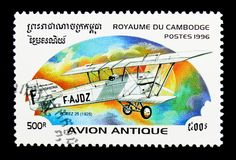 Potez 25 aircraft, 1925, Early aircrafts serie, circa 1996. MOSCOW, RUSSIA - NOVEMBER 24, 2017: A stamp printed in Cambodia shows Potez 25, 1925, Early aircrafts Stock Images