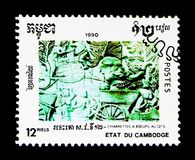 Relief, Khmer Culture serie, circa 1990. MOSCOW, RUSSIA - NOVEMBER 24, 2017: A stamp printed in Cambodia shows Relief, Khmer Culture serie, circa 1990 Royalty Free Stock Images