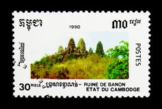 Ruins, Banon, Khmer Culture serie, circa 1990. MOSCOW, RUSSIA - NOVEMBER 24, 2017: A stamp printed in Cambodia shows Ruins, Banon, Khmer Culture serie, circa Royalty Free Stock Photography