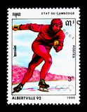 Speed skating, Olympic Games 1992 - Albertville serie, circa 1990. MOSCOW, RUSSIA - NOVEMBER 24, 2017: A stamp printed in Cambodia shows Speed skating, Olympic Royalty Free Stock Image