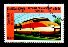 TGV 001 Locomotive, 1976, Locomotives serie, circa 2000. MOSCOW, RUSSIA - NOVEMBER 24, 2017: A stamp printed in Cambodia shows TGV 001 Locomotive, 1976 Stock Photography