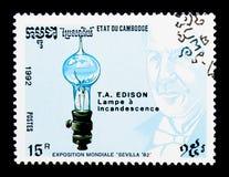 Thomas A. Edison, Expo, inventors serie, circa 1992. MOSCOW, RUSSIA - NOVEMBER 24, 2017: A stamp printed in Cambodia shows Thomas A. Edison, Expo, inventors royalty free stock photos