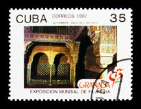 Bedroom, Granada -92 Philatelic Exhibition serie, circa 1992. MOSCOW, RUSSIA - NOVEMBER 25, 2017: A stamp printed in Cuba shows Bedroom, Granada -92 Philatelic Royalty Free Stock Photography