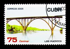 Canimar Bridge, serie, circa 2005. MOSCOW, RUSSIA - NOVEMBER 25, 2017: A stamp printed in Cuba shows Canimar Bridge, serie, circa 2005 stock image