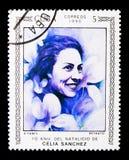 Celia Sanchez Manduley portrait, Women serie, circa 1990. MOSCOW, RUSSIA - NOVEMBER 25, 2017: A stamp printed in Cuba shows Celia Sanchez Manduley portrait Stock Photography