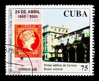 Colonial Post Office, 150th Anniversary of the Cuban Stamps serie, circa 2005. MOSCOW, RUSSIA - NOVEMBER 25, 2017: A stamp printed in Cuba shows Colonial Post royalty free stock image
