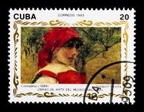 Contadina, The paintings of Joaquin Sorolla - National Gallery i. MOSCOW, RUSSIA - NOVEMBER 25, 2017: A stamp printed in Cuba shows Contadina, The paintings of Stock Photo