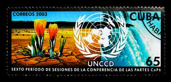 Desertification, UN Conference to Combat Desertification serie,. MOSCOW, RUSSIA - NOVEMBER 25, 2017: A stamp printed in Cuba shows Desertification, UN Conference Stock Images