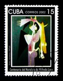 Emi Cosinca 1950, Centenary of the birth of Wilfredo Lam serie,. MOSCOW, RUSSIA - NOVEMBER 25, 2017: A stamp printed in Cuba shows Emi Cosinca 1950, Centenary of royalty free stock image