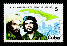 Map of Cuba, Fidel and Cienfuegos, Revolutionary Invasion Forces. MOSCOW, RUSSIA - NOVEMBER 25, 2017: A stamp printed in Cuba shows Map of Cuba, Fidel and Stock Photos
