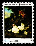\'Poultry\' by Melchior de Hondecoeter, Paintings from the Nationa. MOSCOW, RUSSIA - NOVEMBER 25, 2017: A stamp printed in Cuba shows Melchior de Hondecoeter, \' Royalty Free Stock Image