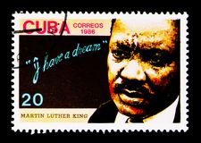 Portrait of Martin Luther King, serie, circa 1986. MOSCOW, RUSSIA - NOVEMBER 25, 2017: A stamp printed in Cuba shows portrait of Martin Luther King, serie, circa stock image