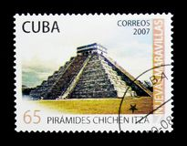 Ruins of Chichen Itza, Mexico, New Wonders of the world serie, c. MOSCOW, RUSSIA - NOVEMBER 25, 2017: A stamp printed in Cuba shows Ruins of Chichen Itza, Mexico Stock Images