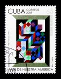 V. Vasarely, Art of our America serie, circa 2009. MOSCOW, RUSSIA - NOVEMBER 25, 2017: A stamp printed in Cuba shows V. Vasarely, Art of our America serie, circa Royalty Free Stock Photo